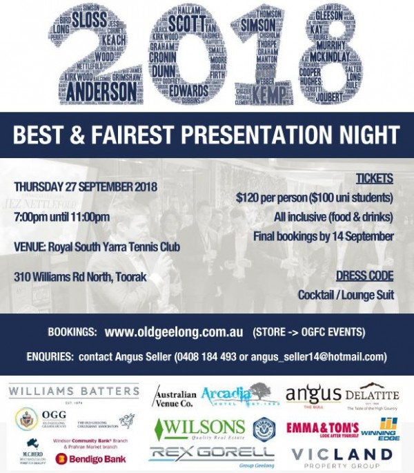 OGFC BEST & FAIREST PRESENTATION NIGHT - Thurs 27th Sept
