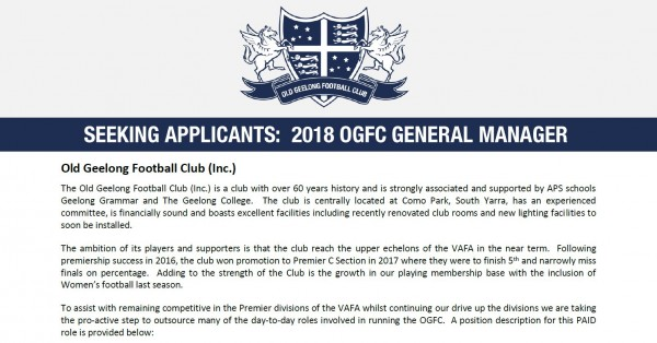 Seeking Applicants: 2018 OGFC General Manager Role