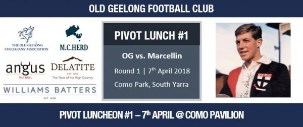 2018 PIVOT LUNCHEON #1 - SATURDAY 7th APRIL