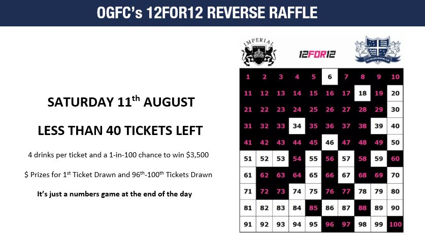 OGFC's 12FOR12 REVERSE RAFFLE - AUGUST 11th