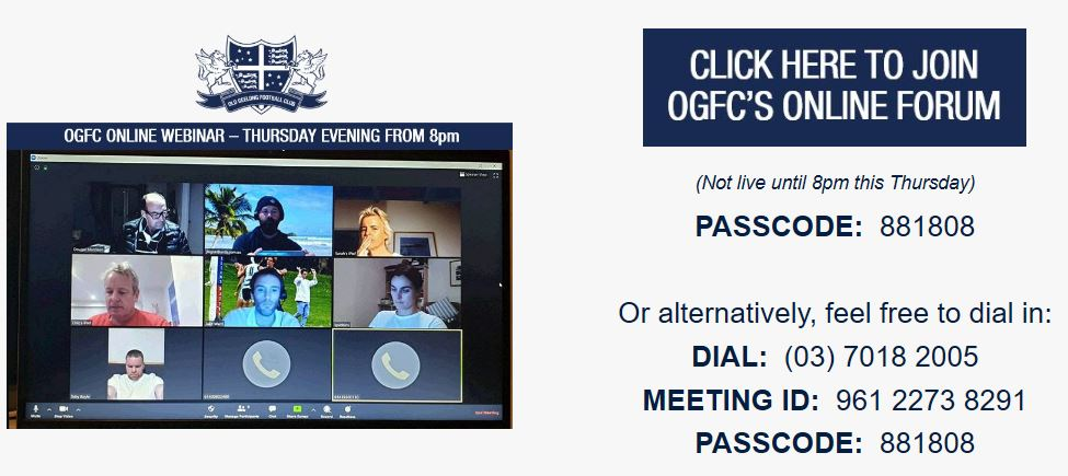 OGFC LIVE WEBINAR: THURS 28th MAY @ 8PM