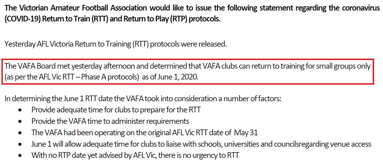 VAFA UPDATE: RETURN TO TRAINING
