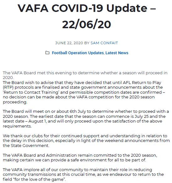 VAFA UPDATE - 22nd JUNE